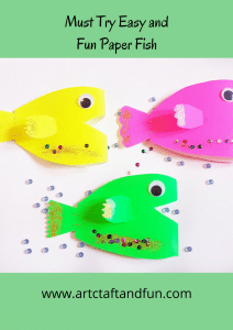 Easy to make paper fish Craft is perfect for your little ones. #oceancrafts #preschoolcraft #papercraft #fishcraft