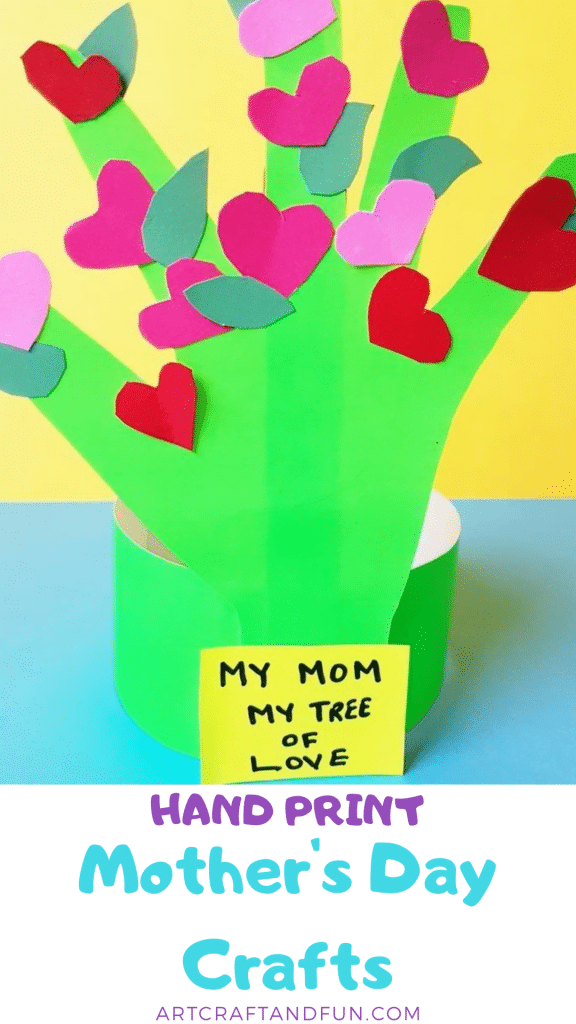 Make this easy hand print mother's day craft with your little one. Perfect for Toddlers and preschoolers. #mothersdaycraft #handprintcraft #toddlercraft #preachoolcrafts