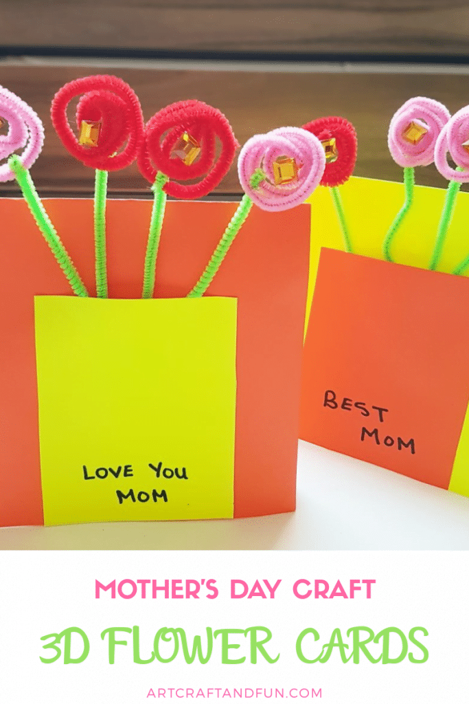 Make this adorable 3D Flower Card for Mother's Day. Sure to bring a smile on any mom's face! #mothersdaycraft #mothersdaycard