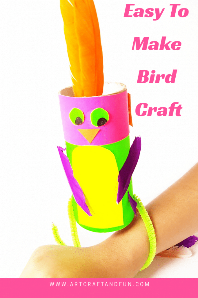 Easy Paper Roll Bird Craft is super easy to make and perfect for younger kids. #birdcraftfortoddlers #birdcrafts #paperrollcraft