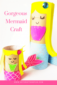 Make this gorgeous Mermaid Craft for tons of fun. #mermaidcrafts #undertheseacraft #girlcrafts #paperrollcraft #easycrafts #funcraftss