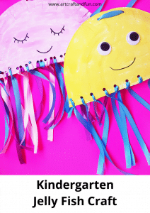 Make this Jelly Fish Craft For Preschool todays. It's perfect for fine motor skills development. #oceancrafts #jellyfishcraft #preschoolcraft #paperplatecraft