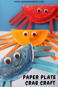 Paper plate crab craft pin