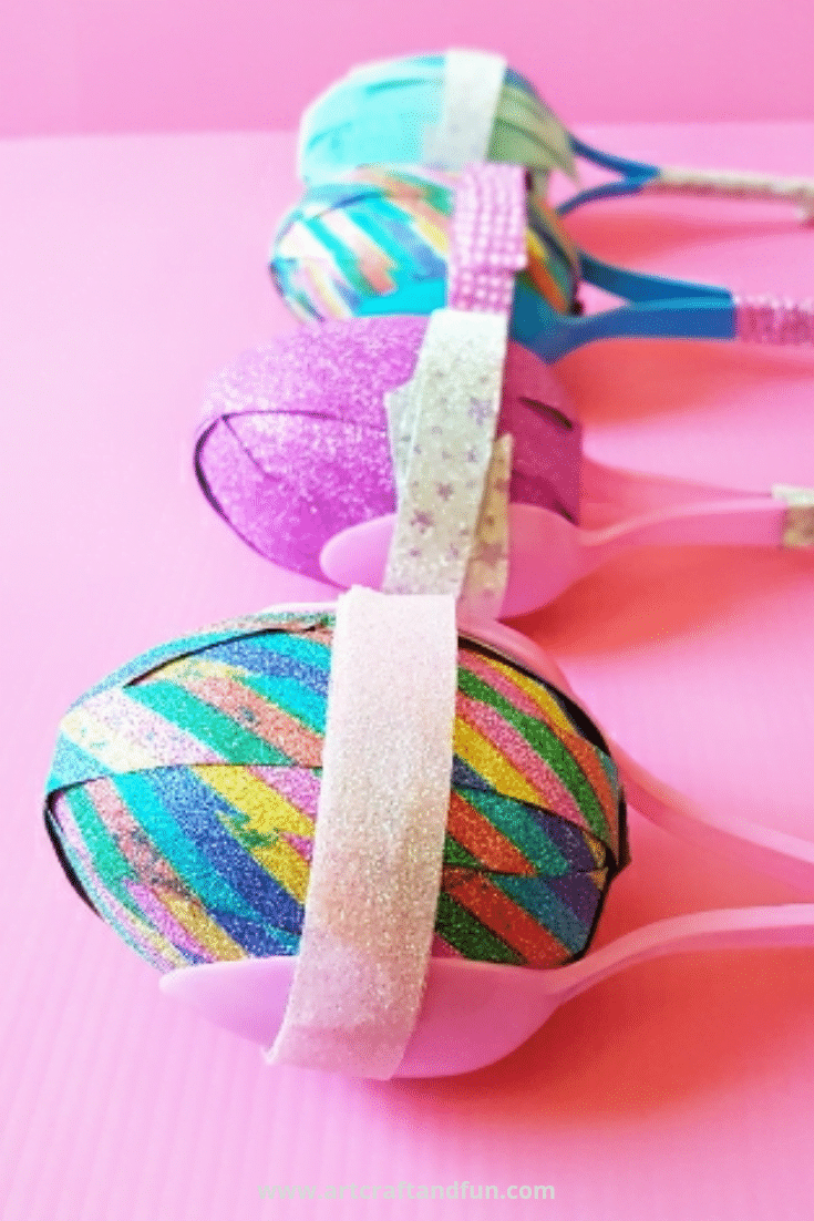 DIY Rainbow Maracas Using Plastic Spoons