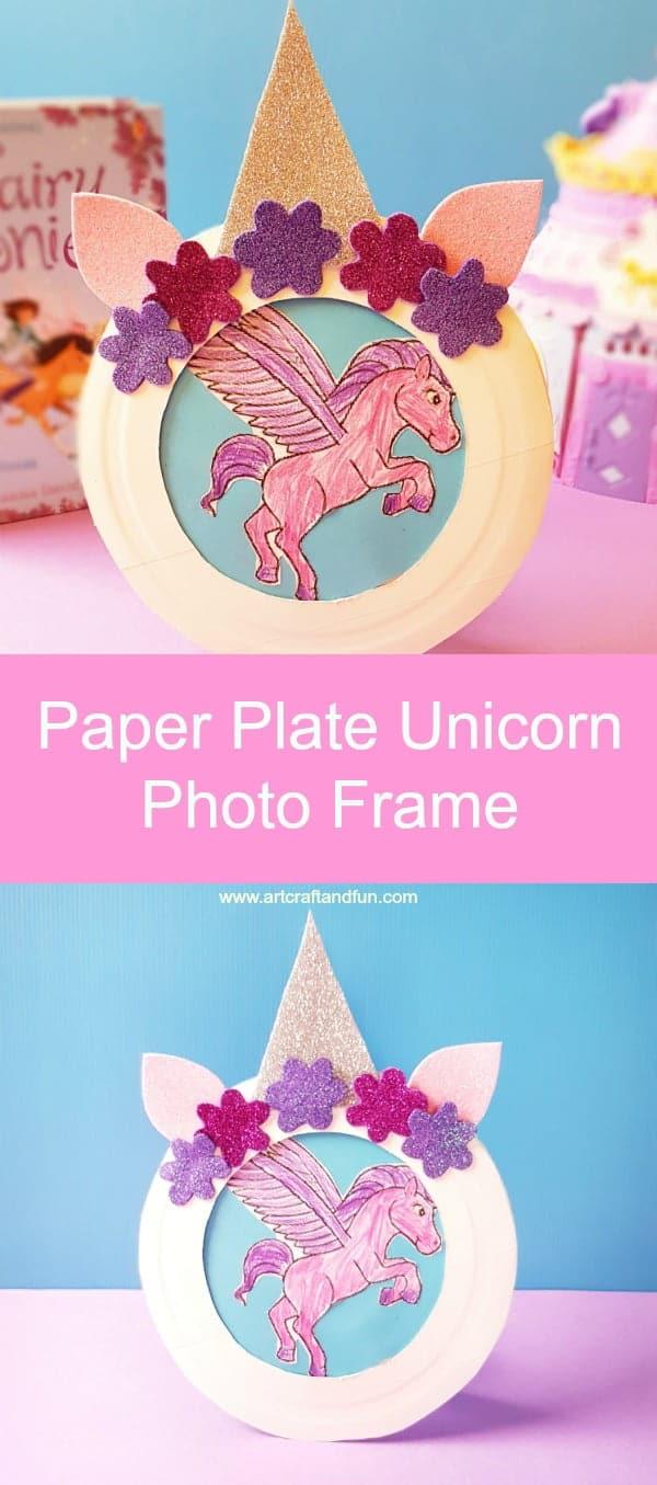 Paper Plate Unicorn Photo Frame Pin