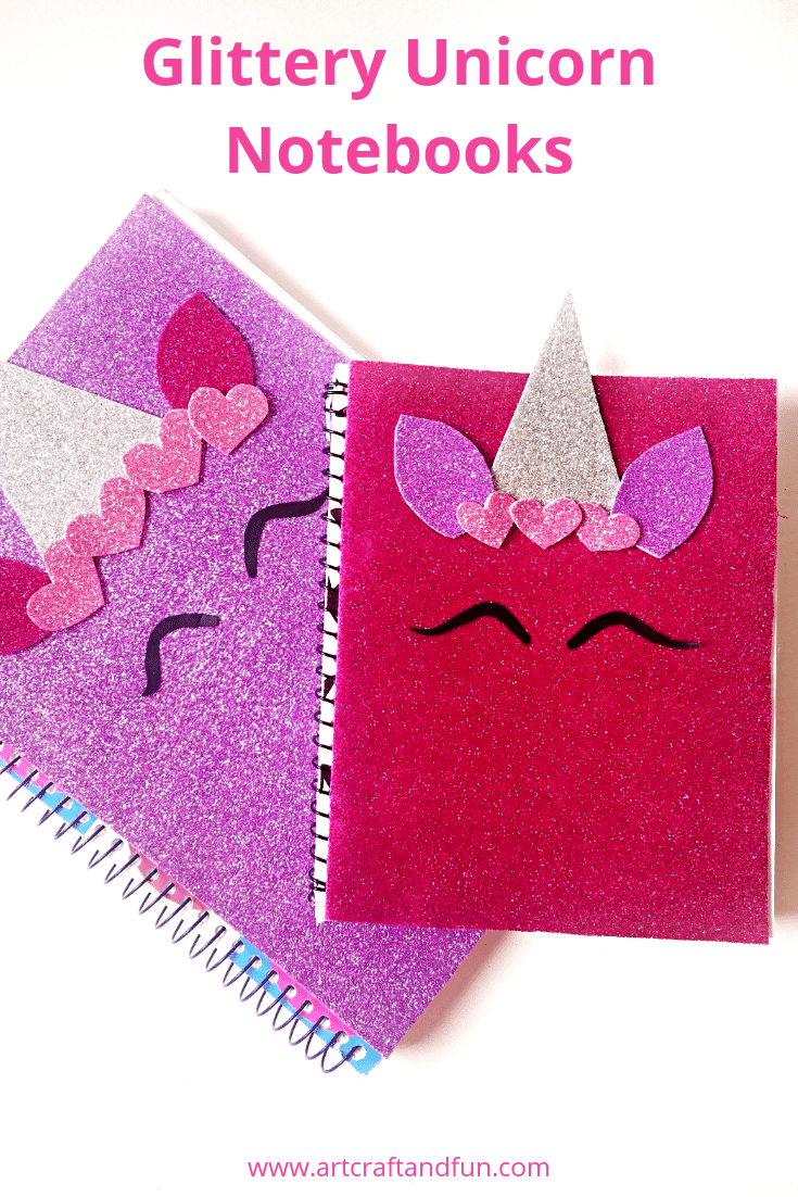 Make this glittery back to school DIY Unicorn Notebook for some magical fun this school year. Sure to be popular with all Unicorn fans. It's super easy to make and turns out so pretty. #unicorncrafts #unicornnotebook #diyunicornnotebook #backtoschoolsupplies #kidscraft #funcraft #diynotebook