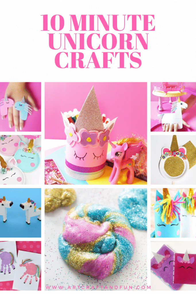 Make these popular 10 Minute Unicorn Crafts For kids today. These are the easiest and the prettiest Unicorn Crafts ever. Sure to be a hit with your little unicorns at home. #unicorncrafts #unicorncraftsforkids #girlcrafts #unicornslime #unicornfingerpuppet #unicornhandprintcraft #unicornpaperplatecraft #unicornpencilholder #unicornnotebook #diyfingerrings #legocraft #unicornpapertubecraft
