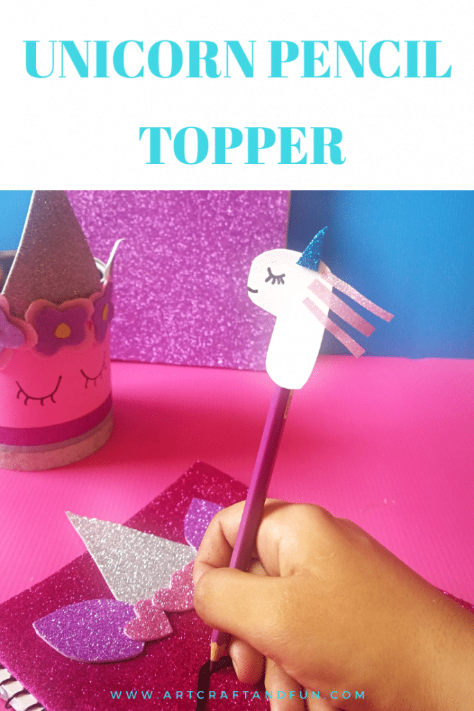 Make this easy magical unicorn pencil topper for back to school supplies. It's the easiest unicorn craft ever! Sure to be a favorite of all unicorn fans. #unicorncrafts#unicornpenciltopper#unicornbacktoschool