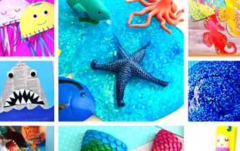 Make these super easy 10 Minute Fun Ocean Crafts with your little ones on a rainy day or whenever the mood strikes. These are the best Ocean Crafts ever #oceancrafts #funoceancrafts #sharkcraft #paperplatecraft #eggcartoncraft #popsiclestickcraft#mermaidcrafts#oceanslime#slime