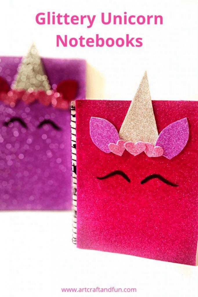 Make your own glittery Unicorn Notebook Craft. #unicorncraft #backtoschoolcraft #diynotebook