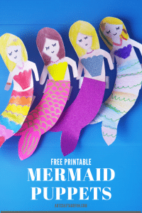 Make this super easy Mermaid Craft today! It's easy and fun to make these mermaid puppets. Perfect for pretend play activities. #mermaidcraft #oceancrafts #undertheseacrafts #funcrafts #easycrafts