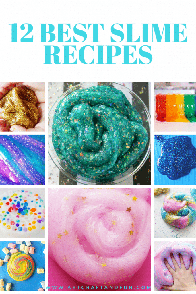The ultimate list of 12 Best Slime Recipes that give perfect result each time is here! All you need to do is make them today for the best slimest experience ever! #slime #slimerecipe #slimewithborax #slimewithcontactlensesolution #fluffyslime #butterslime #edibleslime