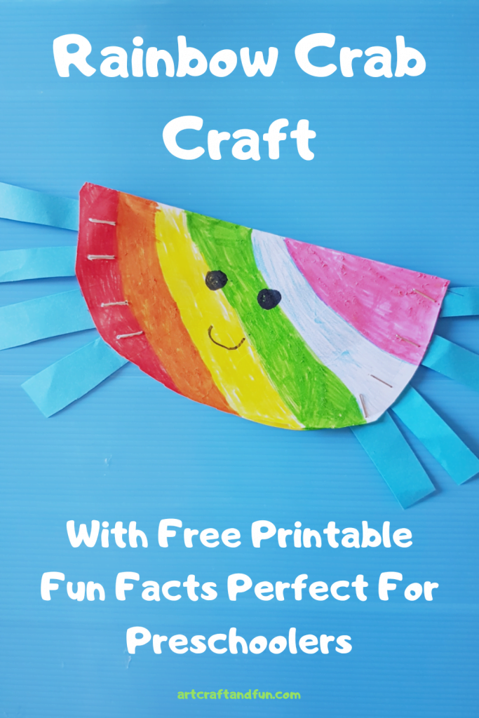 This easy Rainbow Crab Craft is perfect as a preschool craft. And the best part is you need just 3 supplies to make this easy paper craft! Perfect for indoor activities these days! And don't forget to grab your free printable fun facts about the rainbow crab!!! #rainbowcraft #crabcraft #preschoolcraft #oceancraft