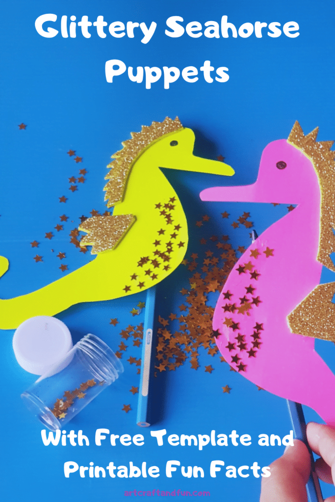 This Glittery Seahorse Craft is perfect for Preschoolers. It can easily turn into a puppet to have story time and pretend play! Don't forget to get your free template and printable fun facts! #seahorsecraft #oceancraft #seahorsecraftforpreschool
