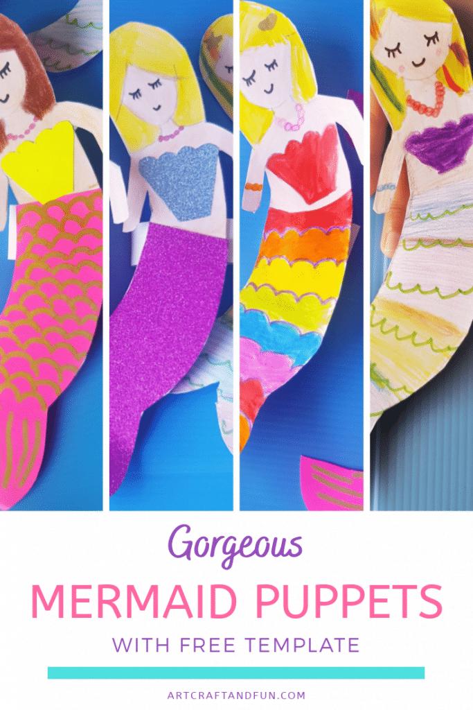 Make this Free Printable Mermaid Craft Finger Puppets today. #mermaidcraft #diymermaid #oceancrafts #undertheseacrafts #easycrafts #funcrafts #girlcrafts