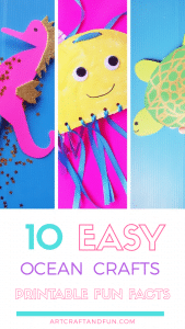 Make these 10 Easy Ocean Crafts for Preschool. Perfect hands on activity on Ocean theme. FREE Printable Fun Facts and Templates included! #oceancraftsforpreschool #oceancraftforkids #oceancrafts #Preschoolcraft #toddlercraft