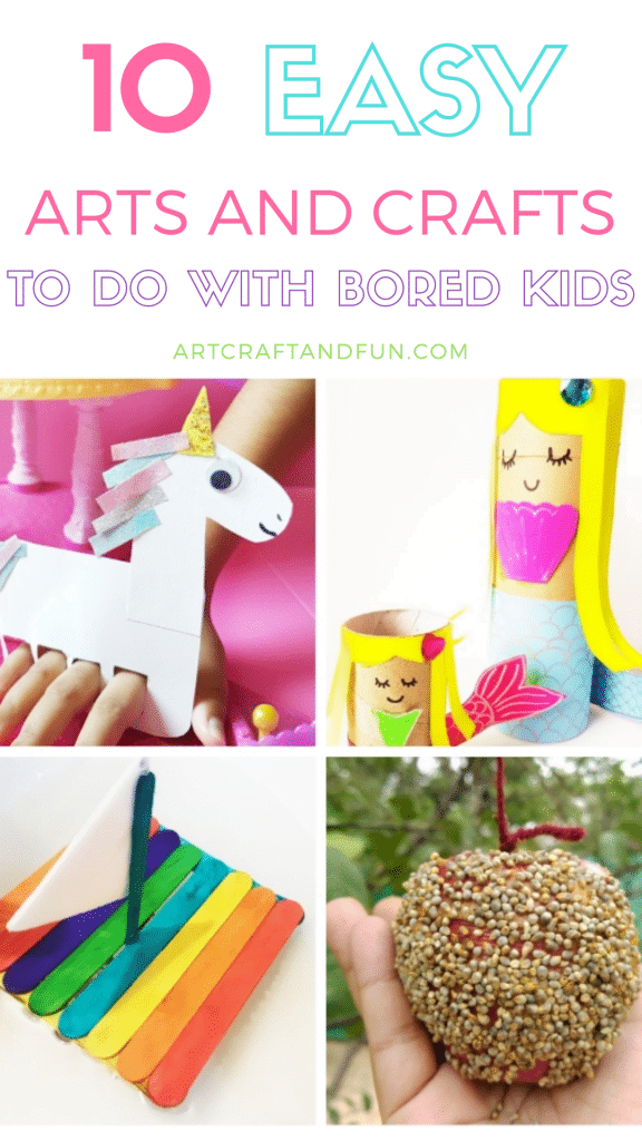 This list of 10 Easy Arts and Crafts to do at home with kids is just the thing you need to keep your kids entertained! Perfect for bored kids. All you need is some simple craft materials already lying around the house! #kidscrafts #easycrafts #funcrafts