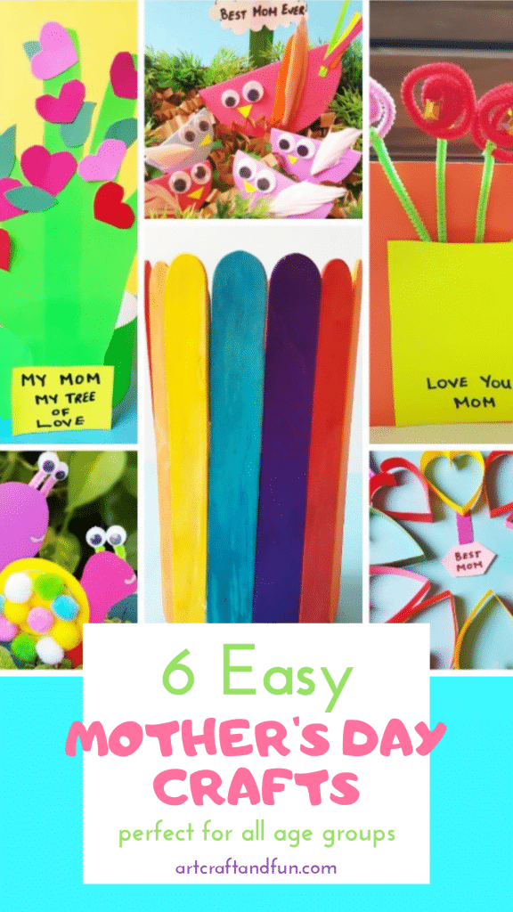 These Easy Last Minute Mother's Day Crafts are perfect for all ages groups. From handprint crafts to Popsicle Craft Vase these are perfect for some fun! #Mothersdaycrafts #handprintcraft #popsiclecraft #papercard #papercrafts