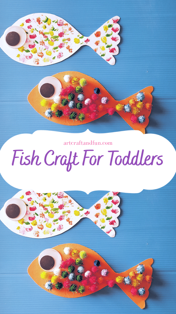 Make this Easy Fish Craft with your little ones today! Perfect activity to make with the book The Rainbow Fish! #fishcraft #toddlercraft #fishcraftfortoddlers #preachoolcrafts