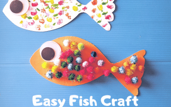 Make this Easy Fish Craft with your little ones today! Perfect hands on activity to keep your kids busy! #fishcraft #toddlercraft #fishcraftfortoddlers #preachoolcrafts