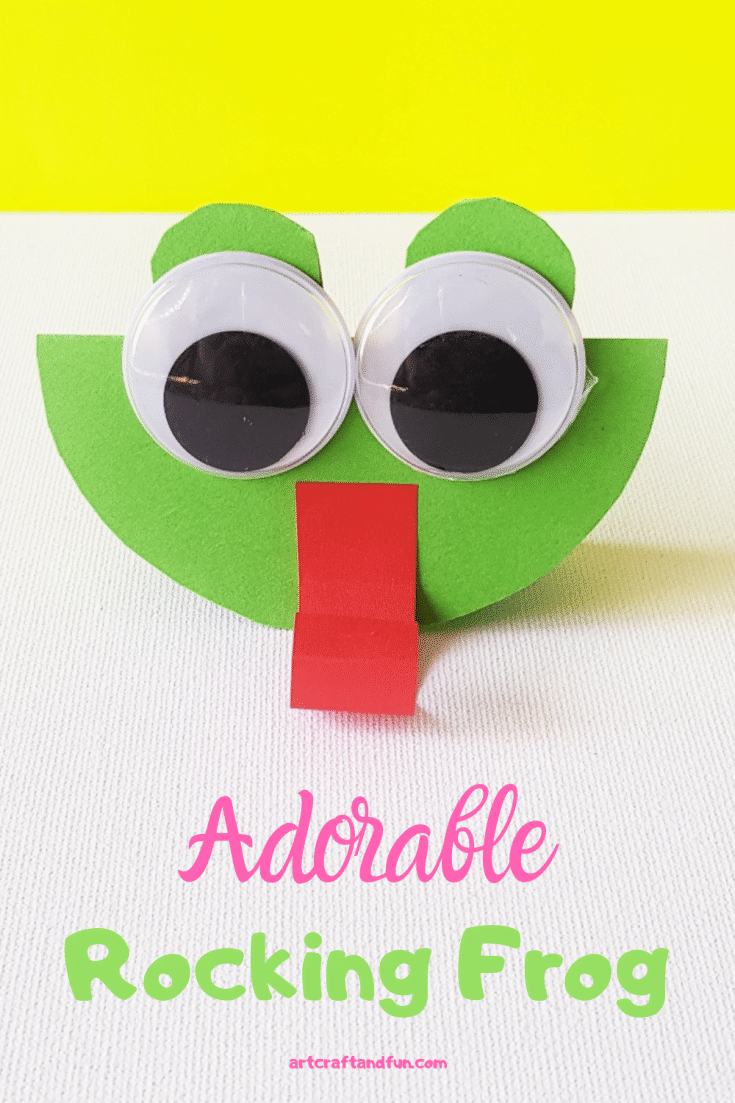 This adorable Rocking Frog Craft is perfect for Preschoolers and Toddlers. Even older kids love making it and playing with it! #frogcraft #paperfrogcraft #papercraft #frogcraftforpreschool