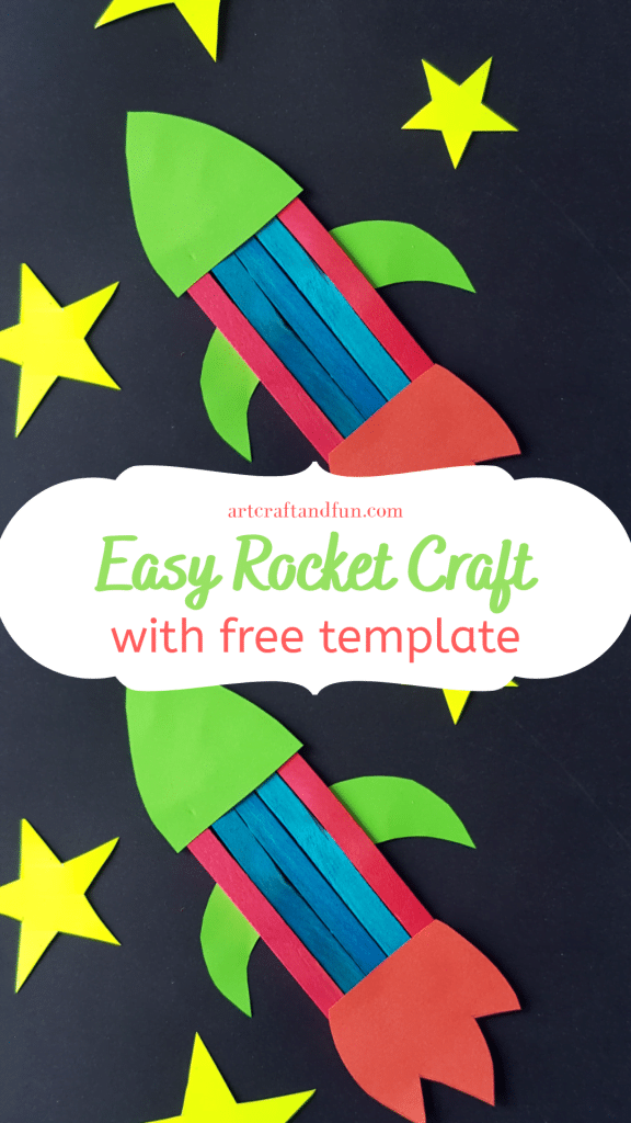 Make this super Easy Rocket Craft with your preschooler today. All you need is some Popsicle sticks and a bit of imagination.It comes with a FREE Template. #rocketcraft #rocketcraftforpreschool #Popsiclestickrocketcraft #popsiclestickcraft #preschoolcraft