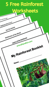 Grab your Free Printable Rainforest Worksheets today. The My Rainforest Booklet contains 5 Free Worksheets. #freeprintables #rainforestworksheets
