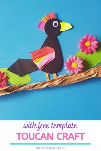 This Colorful Toucan Craft is perfect as a fun activity with Rainforest Unit. It comes with a FREE PRINTABLE Toucan Template. #rainforestcraft #rainforestactivity #rainforestbirdcraft #birdcraft #toucancraft