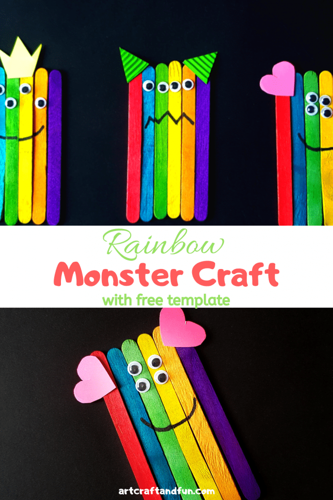 This Rainbow Monster Craft is super easy to make and tons of fun to play with. It comes with free Monster Face Templates as well. #Monstercraft #Rainbowcraft #Popsiclestickcraft