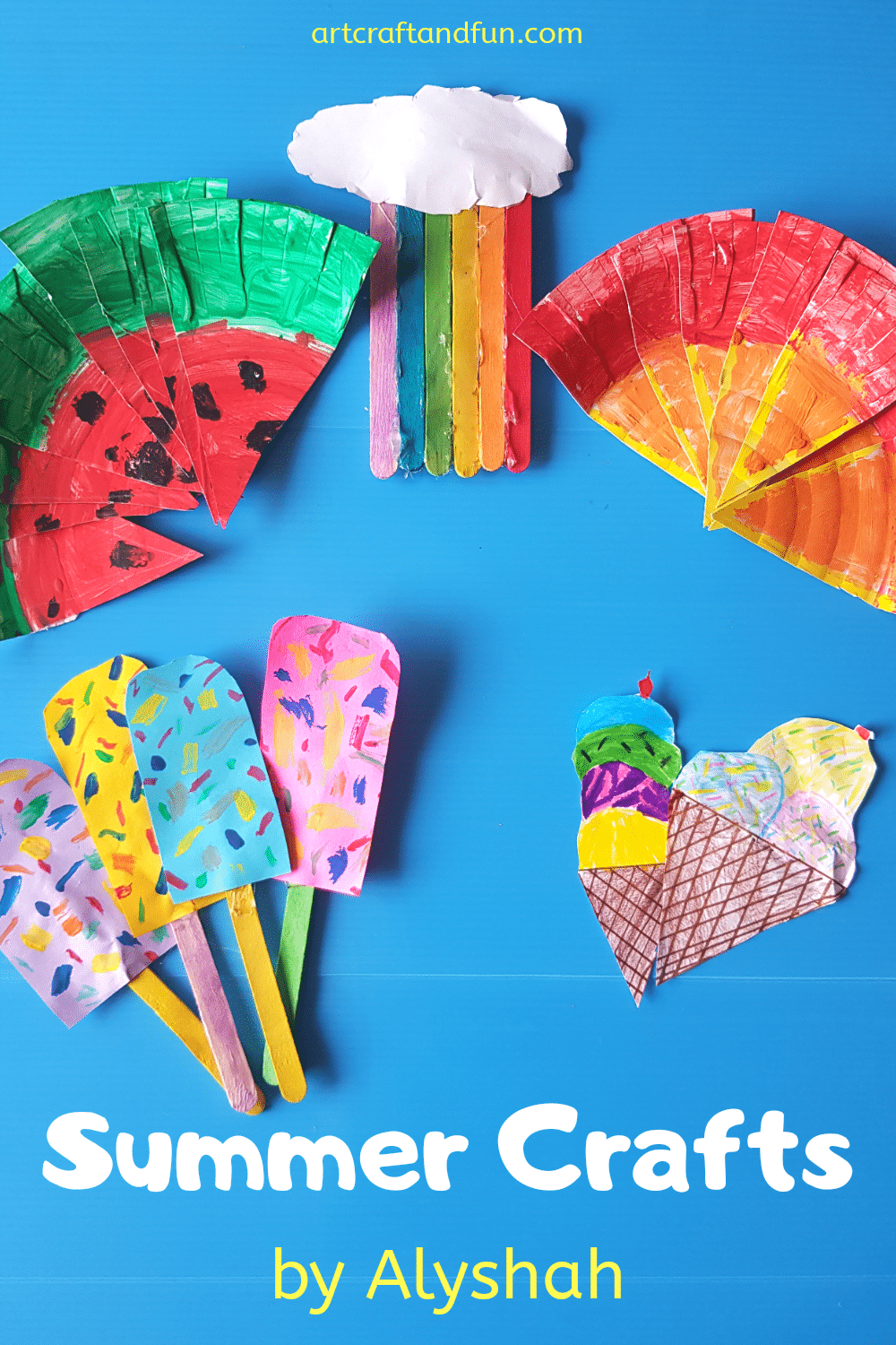 Make these super easy Summer Crafts with your kids today. #Summercrafts #paperplatecrafts #fruitcrafts #icecreamcraft