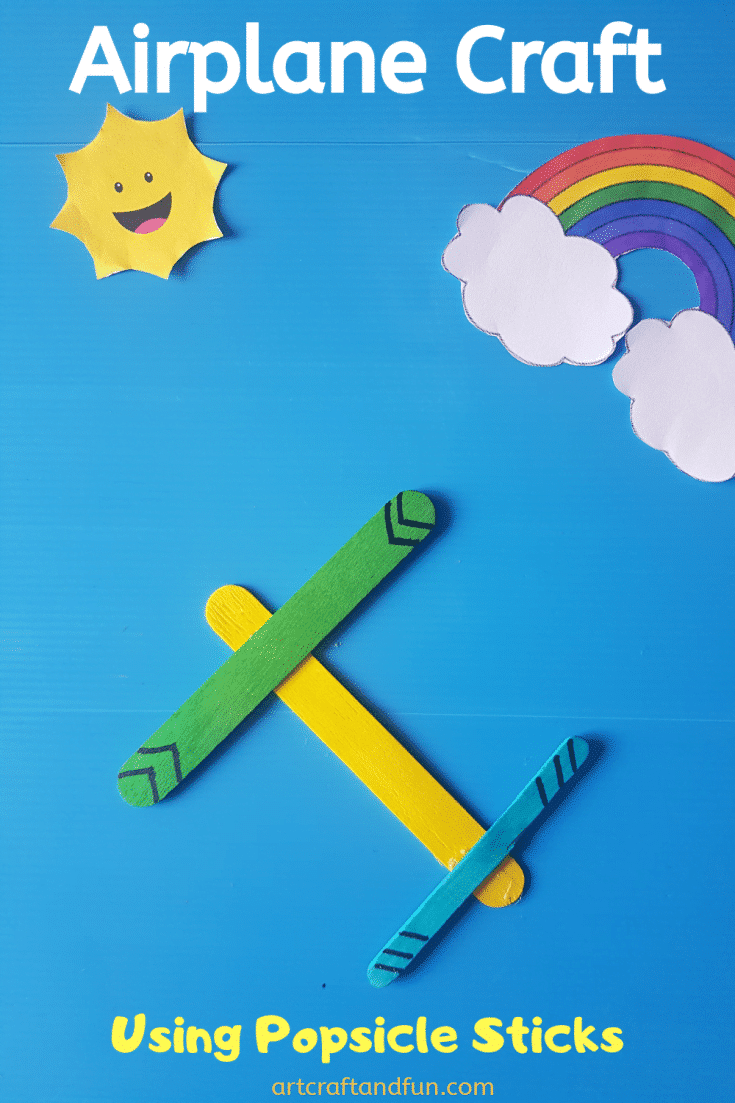 Make this super easy Airplane Craft Using Popsicle Sticks. Its a perfect pretend play craft for your little ones! #airplanecraft #airplanecraftusingpopsiclesticks #popsiclestickcraft #preschoolcraft