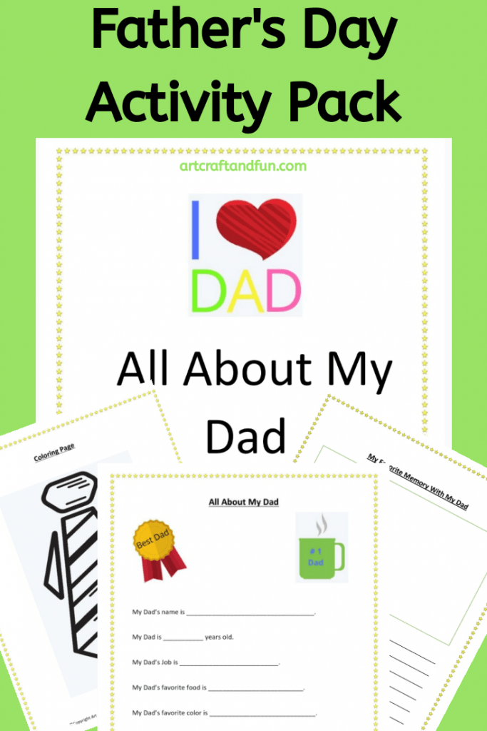 Get this amazing All About My Dad Free Printable Pack today! It comes with three fun activity sheets. Perfect for Father's Day! #allaboutmydad #freeprintable #Fathersday #fathersdayactivity