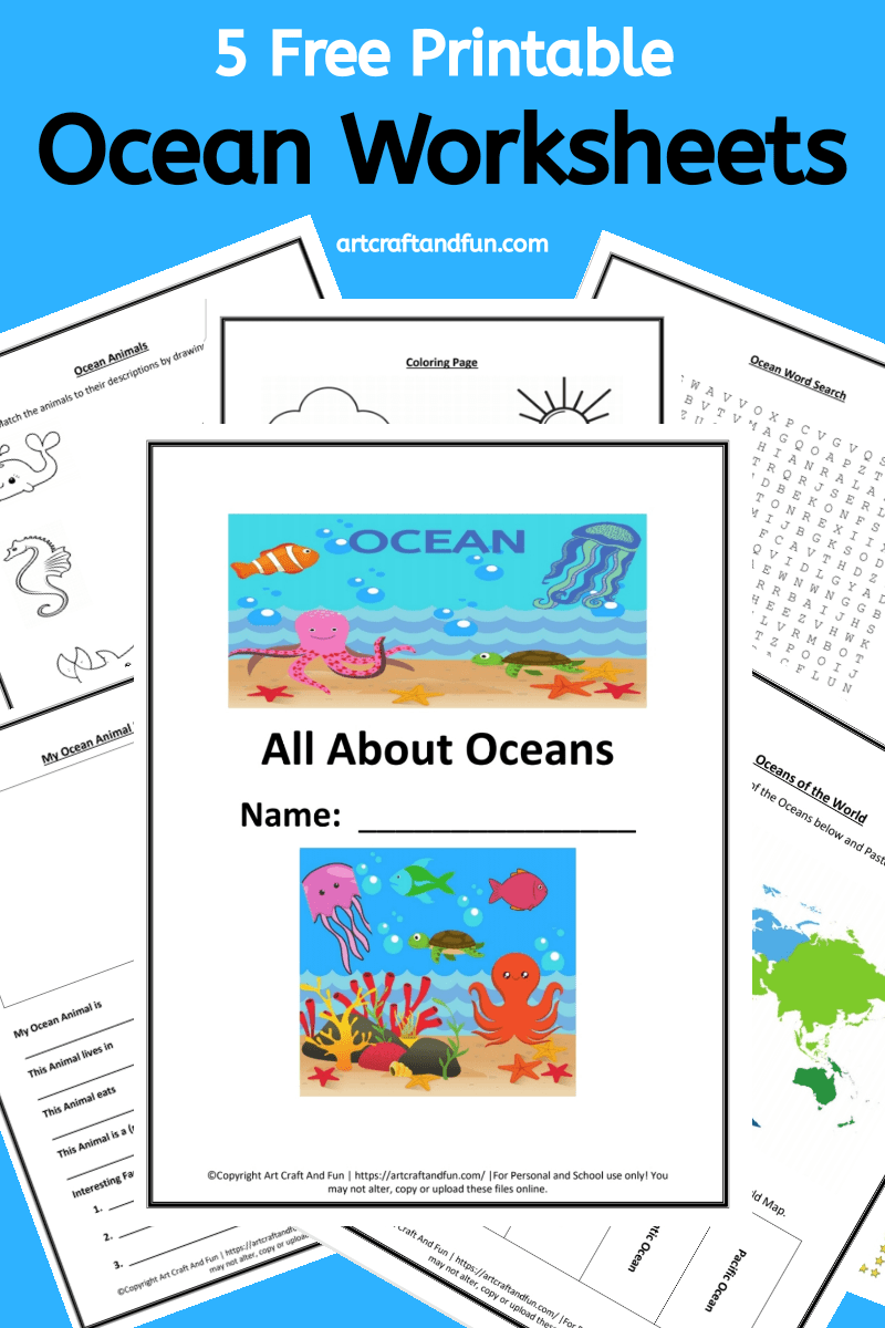 Grab 5 Free Printable Ocean Worksheets for your grade schoolers today. These worksheets are perfect for homeschooling or for using in the class room. #freeworksheets #oceanworksheets #freeprintables