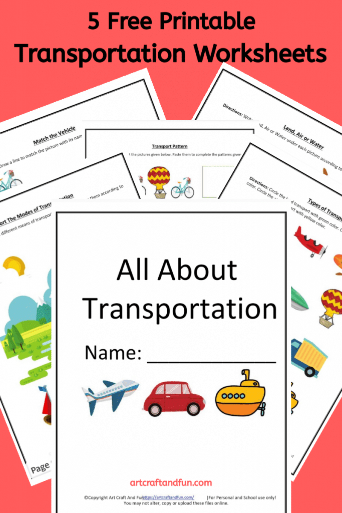 Get these 5 Free Transportation Worksheets for your kids today. They are so colorful and attractive. Perfect for introducing Land, Air and Water Transportation to kids. #transportationworksheets #freertransportworksheets #freeprintables