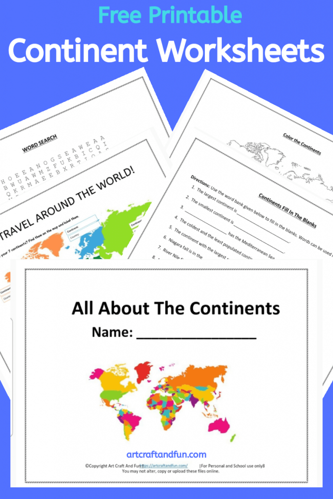 Grab this set of Free Printable All about the Continents worksheets today. This colorful and fun free worksheet set is perfect for kids. #freeprintable #freecontinentworksheets #Allaboutthecontinents