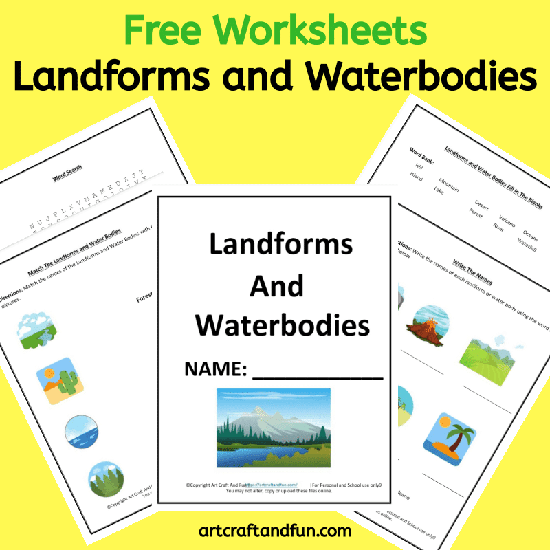 Grab Free Printable Landform Worksheets for your kids today. These colorful worksheets also cover the waterbodies. #Freeprintableworksheets #geographyworksheets #landformworksheets #freeprintablelandformworksheets