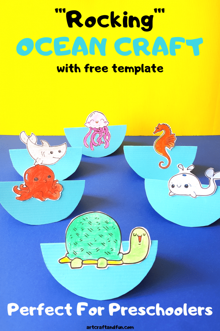 Make this Adorable Rocking Ocean Craft For Preschoolers today. It comes with free template and is loads of fun to play with. #oceancraft #oceancraftforpreschool #undertheseacraft