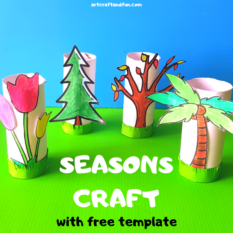 Make this Fun and Easy Seasons Craft For Kids today. It comes with a FREE Template for the four seasons. Its the perfect Seasons Craft For Preschoolers using paper roll. #seasonscraft #seasonscraftforpreschool #seasonscraftusingpaperroll #paperrollcraft