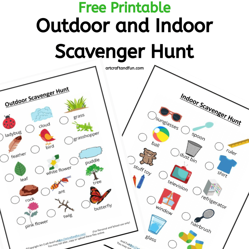 Get this set of Outdoor and Indoor Scavenger Hunt Printables today! And the best part is they are Free. Perfect for using as a birthday party activity or as a hiking activity. Excellent way to keep your child busy. #scavengerhunt #scavengerhuntworksheet #scavengerhuntprintable