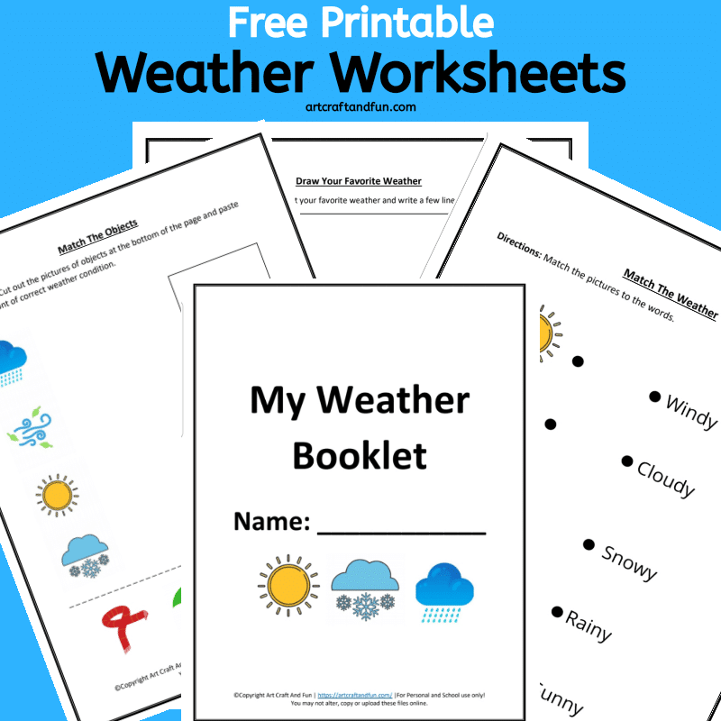 This colorful set of Free Printable Weather Worksheets are perfect for kids age 6 and up. This fun set comes with three colorful worksheets. #freeprintable #freeprintableworksheets #weathweworksheets