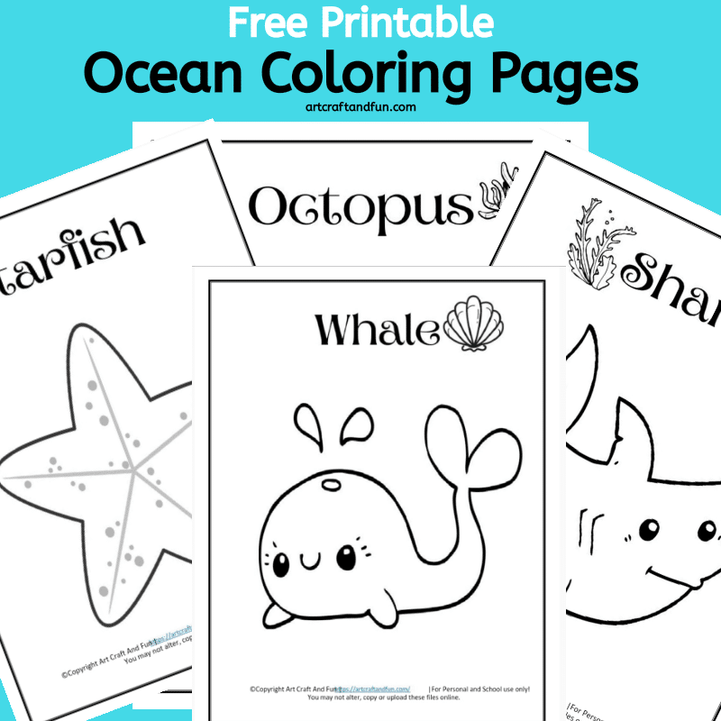 Grab 4 fun Ocean and Sea Animal Coloring pages in this Free Printable Pack. Perfect for preschooler and big kids as well. #oceancoloringpages #freeoceancoloringpages #seaanimalcoloringpages #freeseaanimalcoloringpages #freeprintableoceancoloringpages