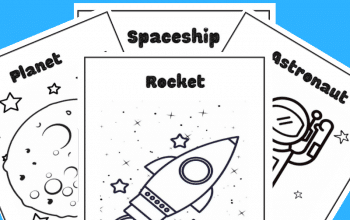 Grab 4 fun Space Coloring pages in this Free Printable Pack. Perfect for preschooler and big kids as well. #spacecoloringpages #freespacecoloringpages #freecoloringpages
