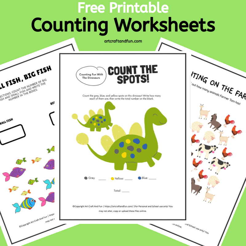 Grab these 3 Free Printable Counting Worksheets today! These fun and colorful worksheets are sure to make counting fun for preschoolers. #freeprintables #freeworksheets #freepreschoolworksheets #mathworksheets #preschoolworksheets