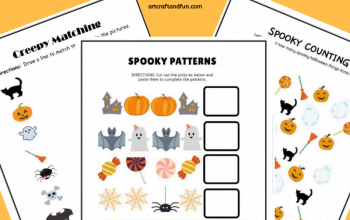 Grab this pack of FREE Spooky Halloween Worksheets for your kids today! These colorful and easy worksheets are perfect for preschoolers. #freeworksheets #freeprintables #halloweenworksheets #freehalloweenworksheets