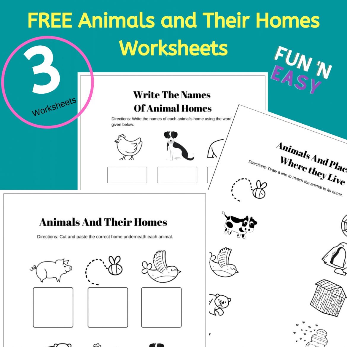 Free  Printable Animals And Their Homes Worksheets