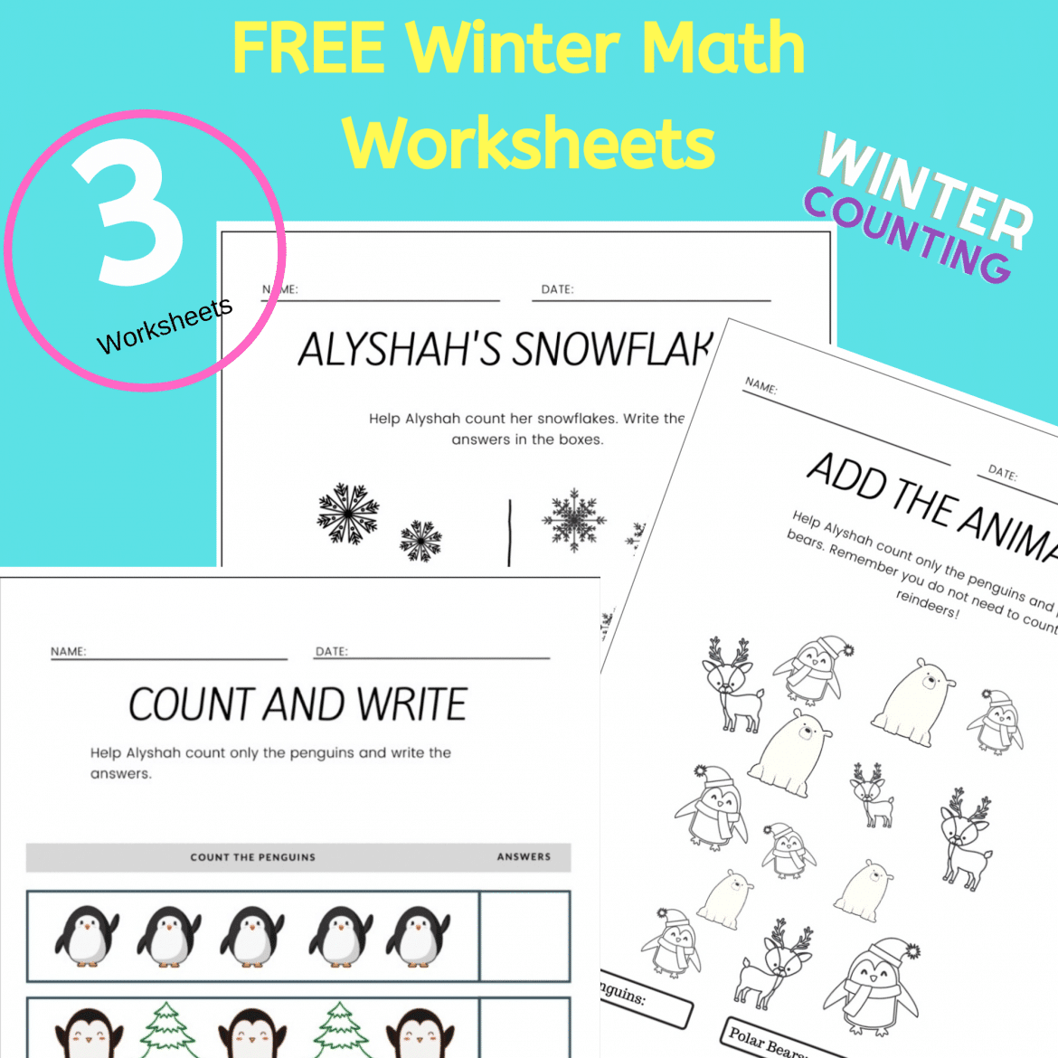Free Printable Winter Math Worksheets For Kindergarten
