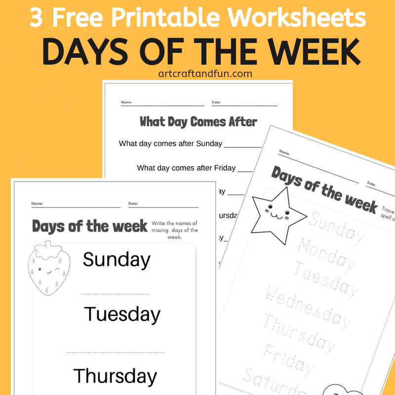 Grab 3 Free Printable Days of the week Worksheets For Kids today! Perfect for homeschooling and in class usage. #freeprintable #freeworksheets #freedaysoftheweekworksheets