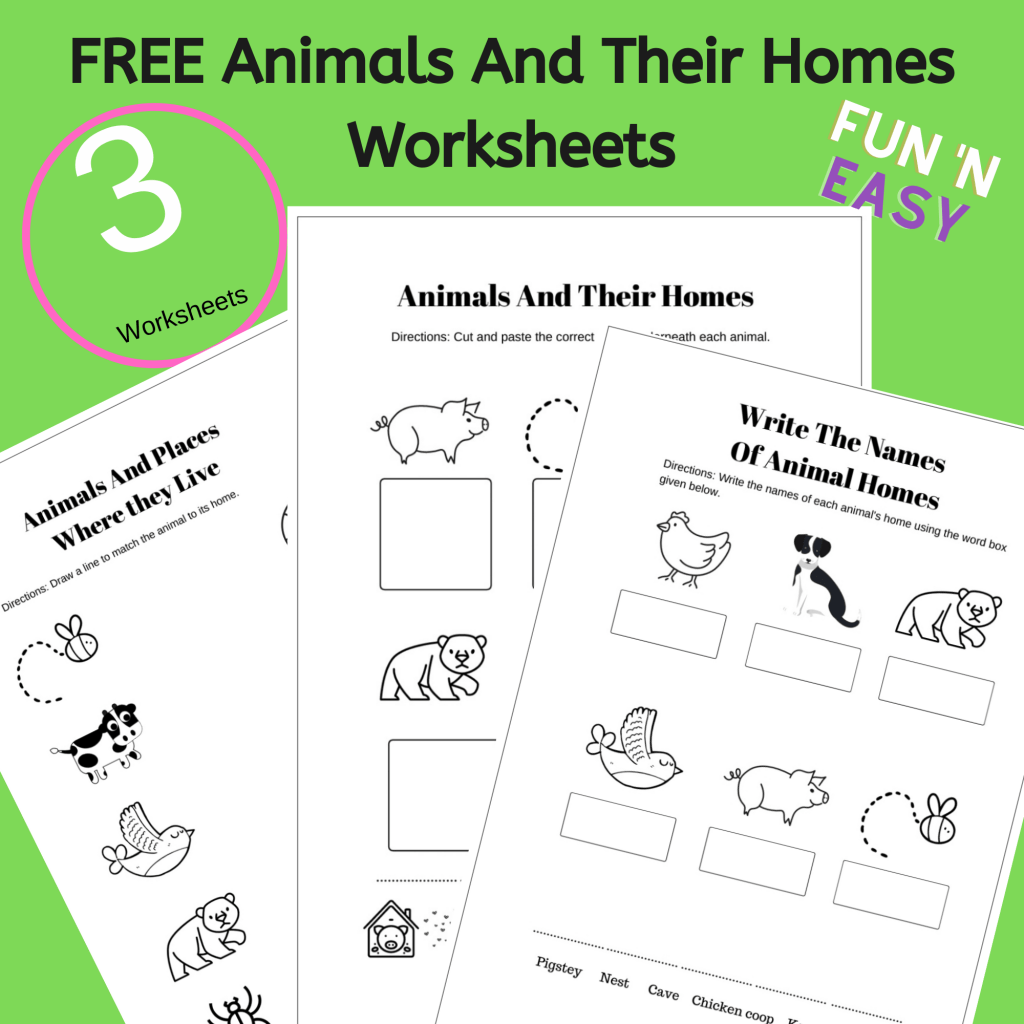 Grab this pack of 3 Free Printable Animals And Their Homes Worksheets For Kid today! #printables #worksheets #activites #animalsandtheirhomes #animalsandtheirhomeswoksheets