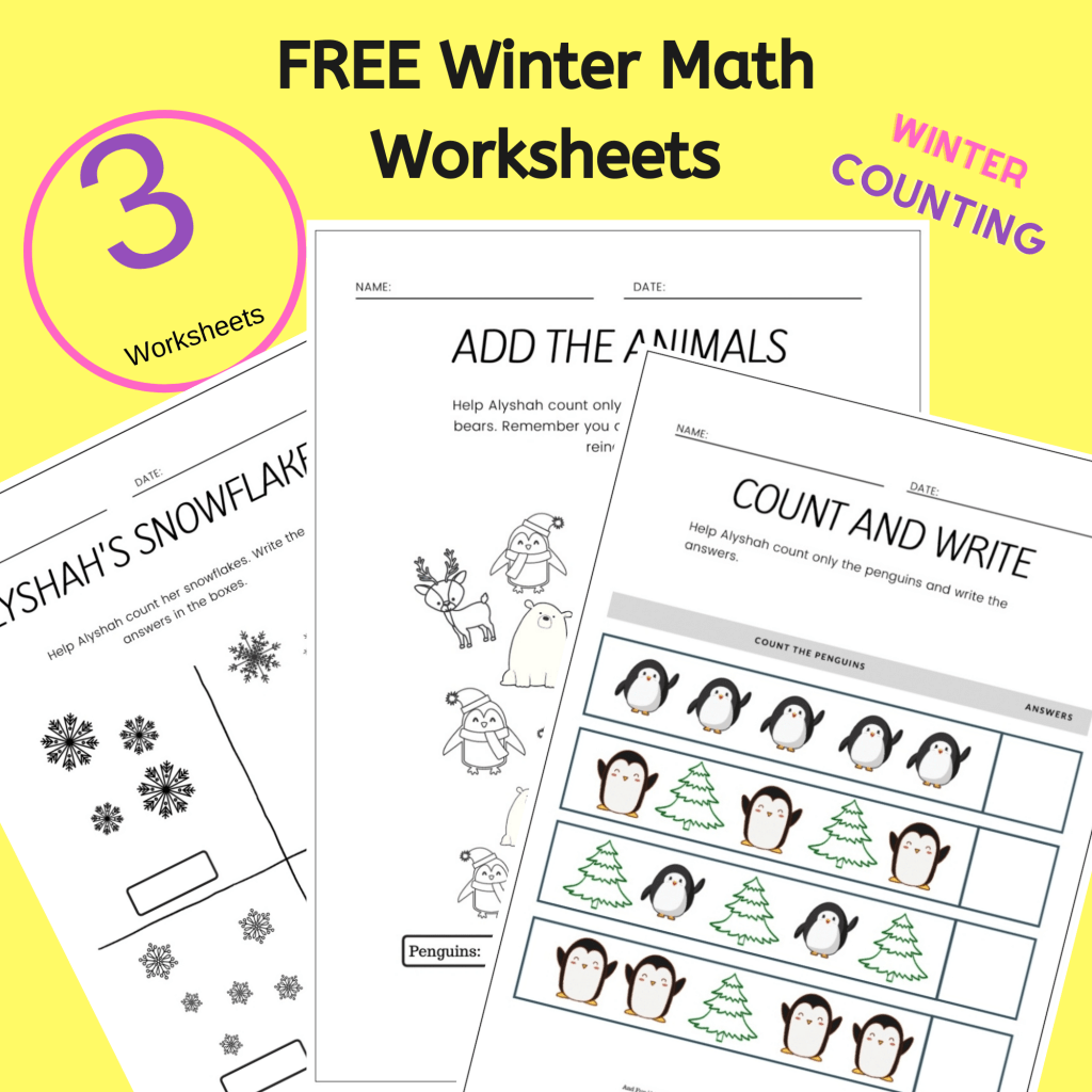 Grab this pack of three winter themed Math Worksheets For Kindergarten today! #freeprintable #mathworksheets #mathworksheetsforkindergarten #countingworkinfs #printable #winterworksheets