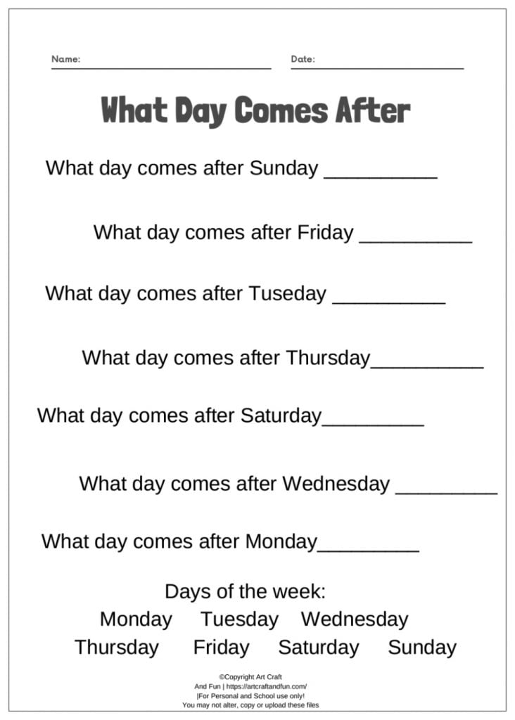 Free Printable Days Of The Week Worksheets For Kids